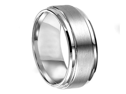 Brushed and Polished Wide Titanium Ring with Stepped-Down Edges