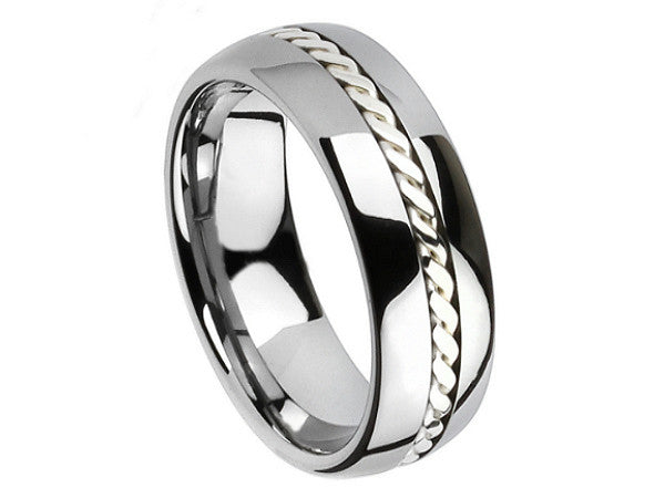 Polished Dome Tungsten Ring with Plated Rope Accent Inlay