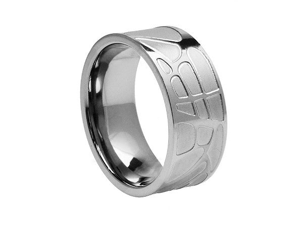 Brushed Flat Tungsten Ring with Geometric Shapes Engraving