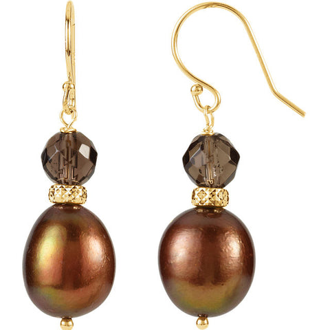 Freshwater Cultured Chocolate Pearl & Smokey Topaz Earrings