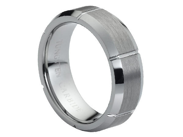 Brushed and Polished Flat Titanium Ring with Beveled Edges and Carved Sections