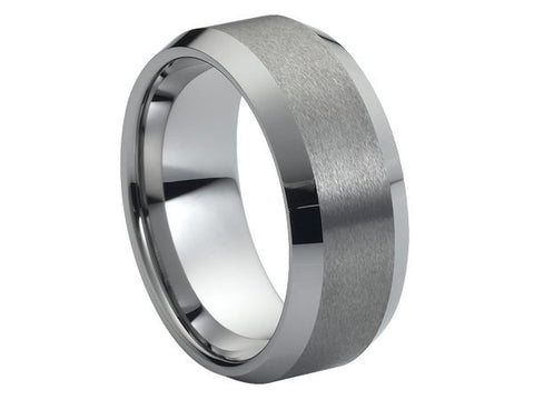 Polished Flat Tungsten Ring with Beveled Edges and Brushed Wide Inlay