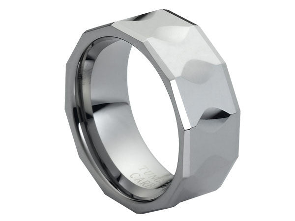 Polished Tungsten Ring with Hour-Glass Facets