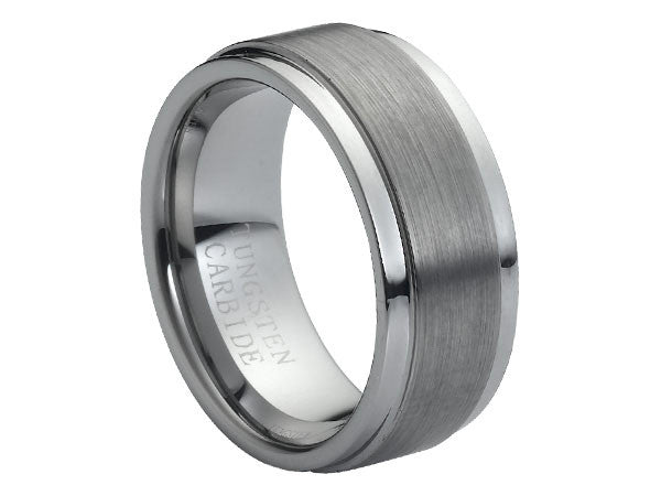 Brushed and Polished Flat Tungsten Carbide Ring with Stepped-Down Edges