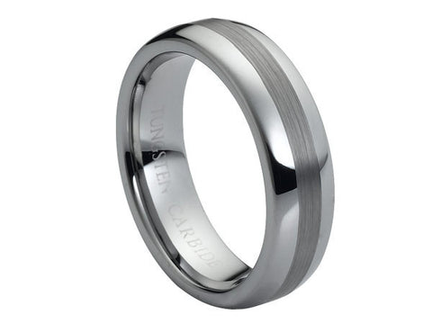 Polished Dome Tungsten Carbide Ring with Brushed Inlay