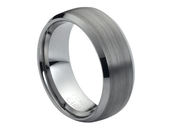 Brushed Dome Tungsten Carbide Ring with Beveled Edges