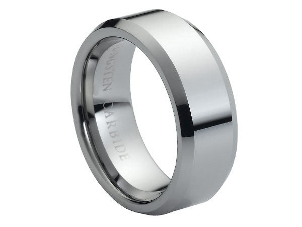 Polished Plate Tungsten Carbide Ring with Beveled Edges