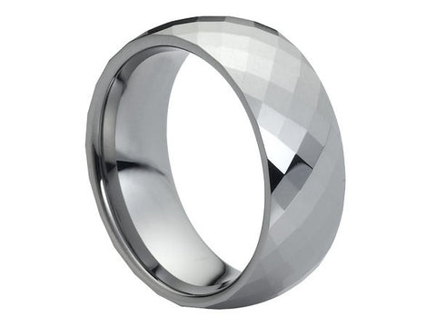 Polished Dome Tungsten Ring with Square Facets