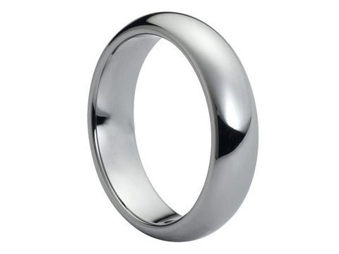 Polished Dark Gray Domed Tungsten Ring