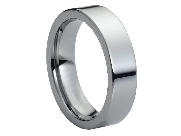Polished Slim Flat Tungsten Carbide Ring