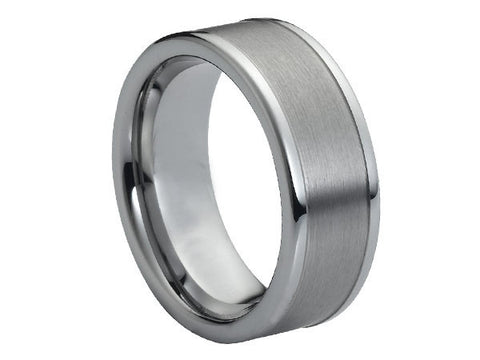 Polished Titanium Ring with Wide-Grooved Brushed Inlay