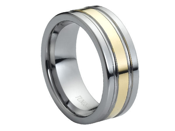 Polished Tungsten Carbide Ring with Gold Inlay Between Grooves