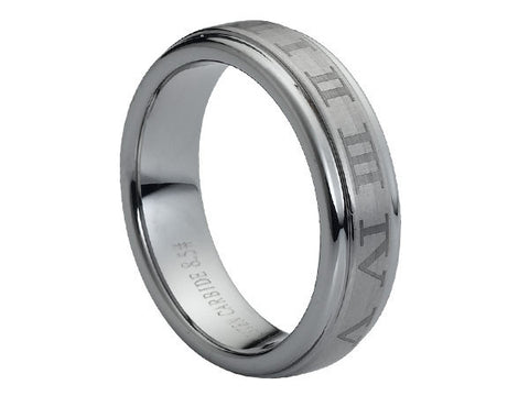 Polished Tungsten Carbide Ring with Gray Roman Numerals on Brushed Center