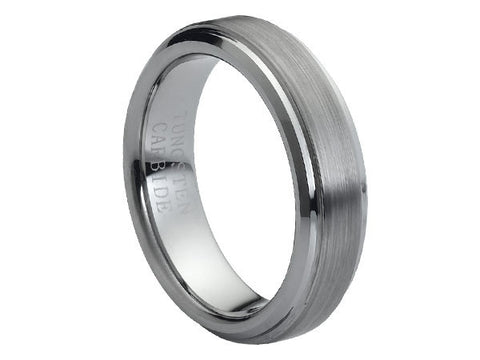 Brushed Flat Tungsten Carbide Ring with Stepped-Down Edges and Brushed Center