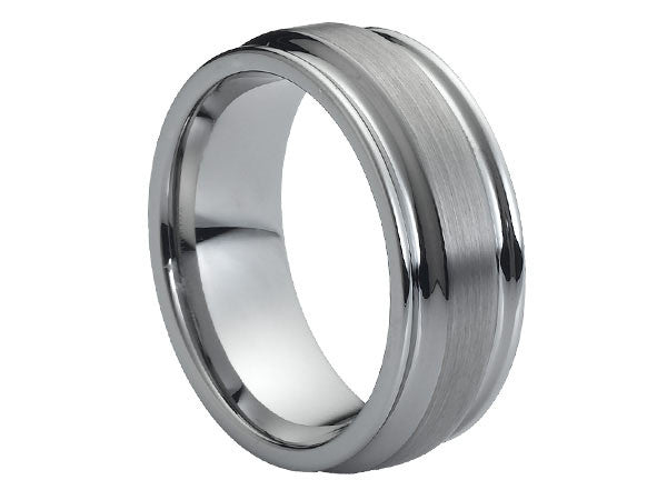 Polished Tungsten Carbide Ring with Brushed Surface Between Two Wide Grooves