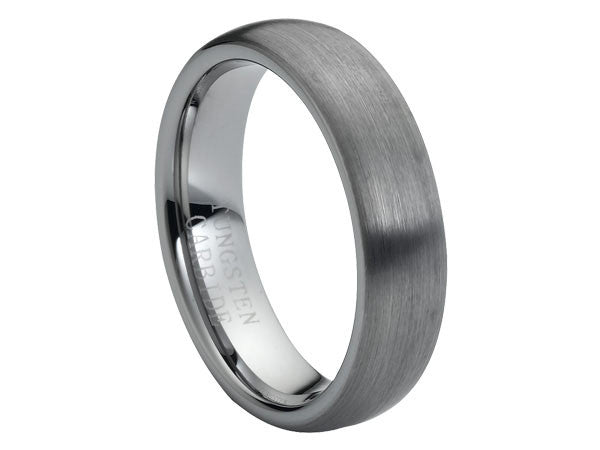 Brushed Slight Dome Wide Tungsten Carbide Ring