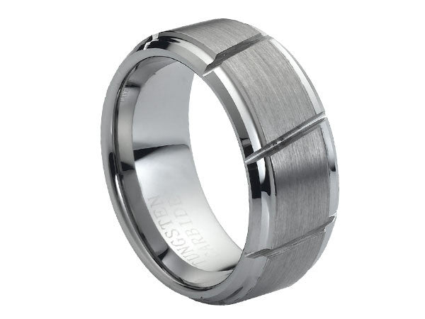 Brushed Tungsten Carbide Ring with Flat Slits