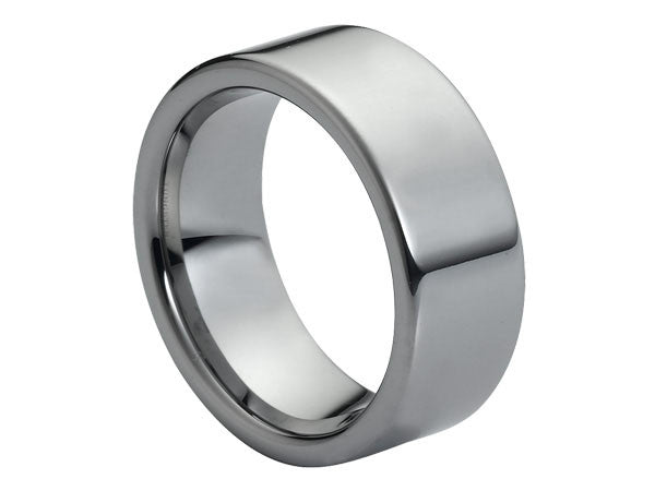 Polished Wide Flat Tungsten Carbide Ring