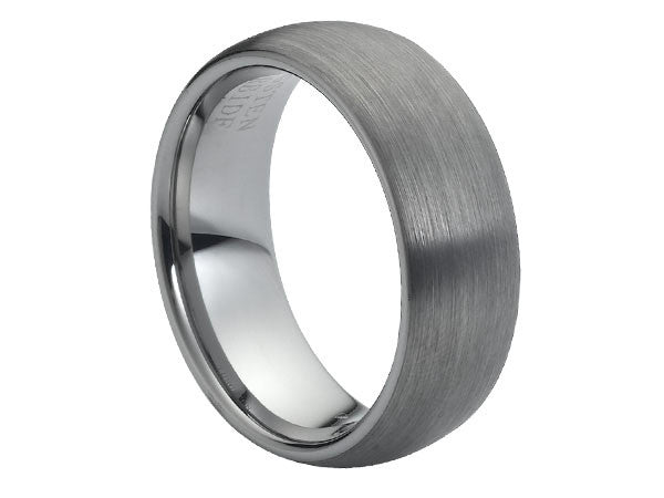 Brushed Dome Dark Tungsten Carbide Ring