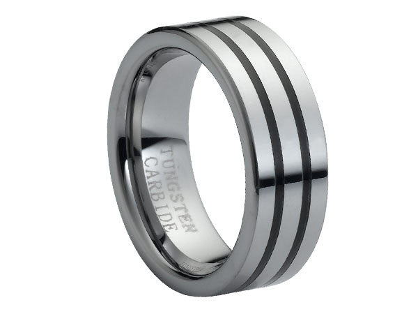 Polished Flat Tungsten Carbide Ring with Two Thick Black Inlays