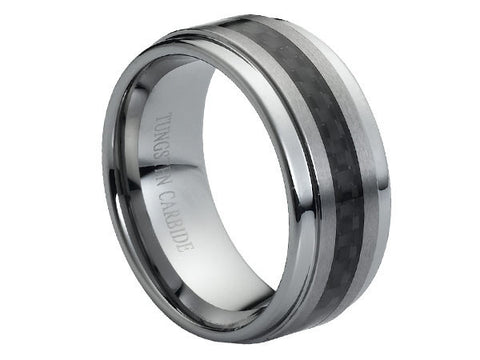 Polished Tungsten Carbide Ring with Stepped-Down Edges and Brushed Center Accented with Carbon Fiber