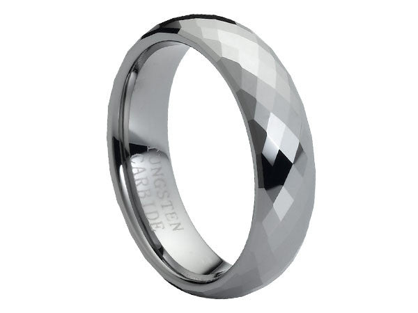 Polished Slight Dome Tungsten Carbide Ring with Facets