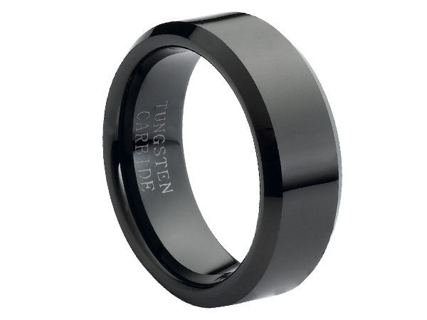 Polished Wide Black Tungsten Carbide Ring with Beveled Edges