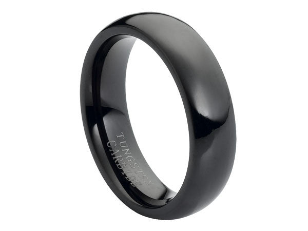 Polished Slim Dome Black Tungsten Carbide Ring