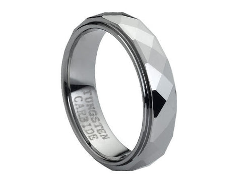 Polished Tungsten Carbide Ring with Stepped-Down Edges and Square Facets