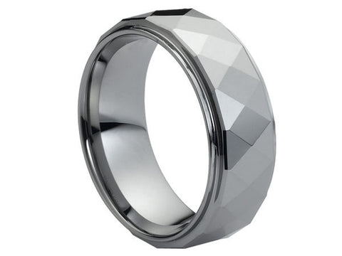 Polished Dark Tungsten Ring with Facets and Stepped-Down Edges