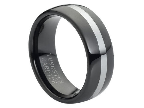 Polished Dome Black Tungsten Carbide Ring with One Brushed Center Line Accents