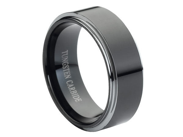 Polished Flat Tungsten Carbide Ring with Silver Stepped-Down Edges