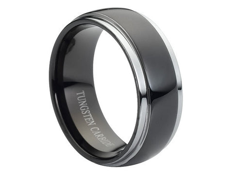 Polished Slight Dome Tungsten Carbide Ring with Silver Stepped-Down Edges