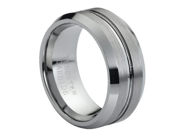 Brushed Tungsten Carbide Ring with Beveled Edges and Brushed Grooved Center