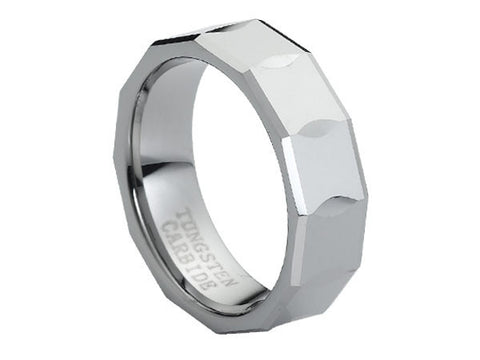Polished Tungsten Carbide Ring with Wide Hour-Glass Facets
