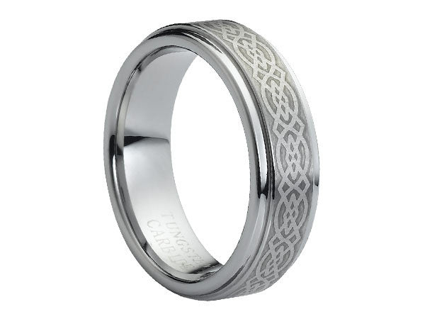 olished Slim Tungsten Carbide Ring with Stepped-Down Edges and Celtic Emblem Engraved on Brushed Center