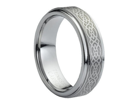 Polished Slim Tungsten Carbide Ring with Stepped-Down Edges and Celtic Emblem Engraved on Brushed