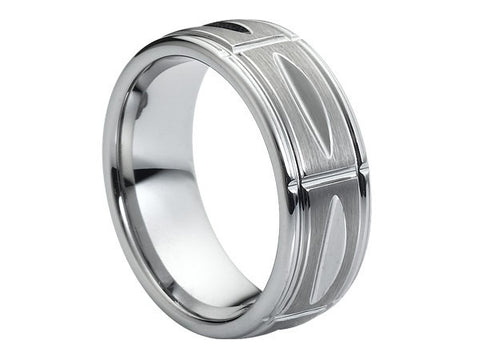 Brushed and Polished Slight Dome Tungsten Ring with Slits and Carved Accents