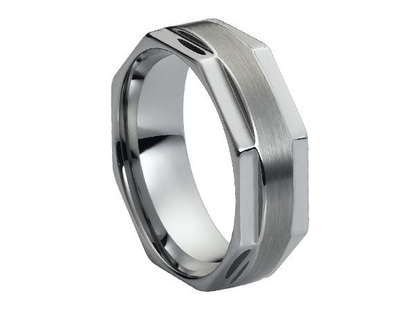 Polished Facet Tungsten Ring with Round Brushed Center