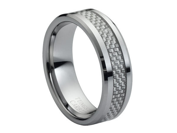 Polished Tungsten Carbide Ring with Beveled Edges and Silver Pattern Center