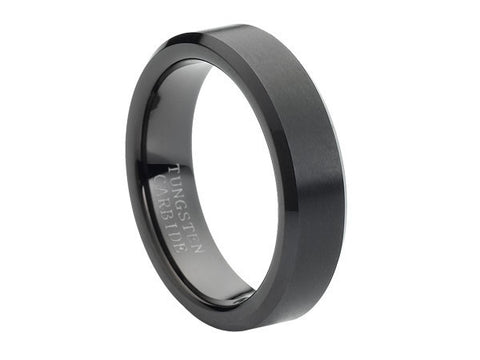 Brushed Slim Black Tungsten Carbide Ring with Beveled Edges