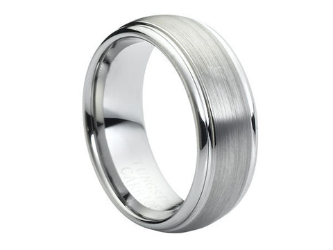 Brushed Tungsten Carbide Ring with Polished Groove and Brushed Center