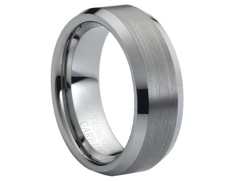 Brushed Flat Tungsten Carbide Ring with Polished Beveled Edges