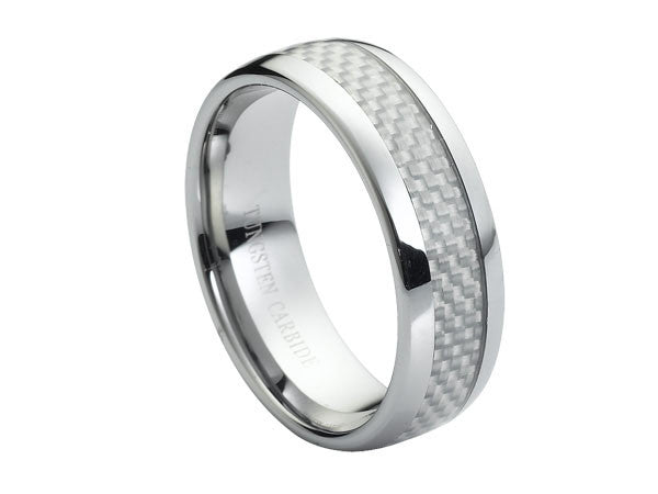 Polished Slight Dome Tungsten Carbide Ring with Silver Pattern Center