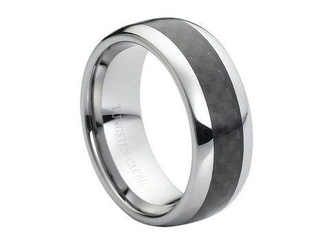Polished Full Dome Tungsten Carbide Ring with Carbon Fiber Center