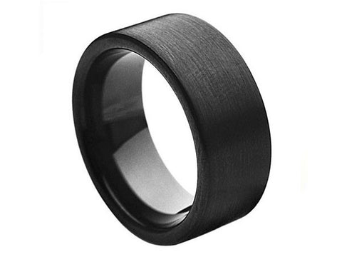 Brushed Thick Flat Tungsten Ring in Deep-Black