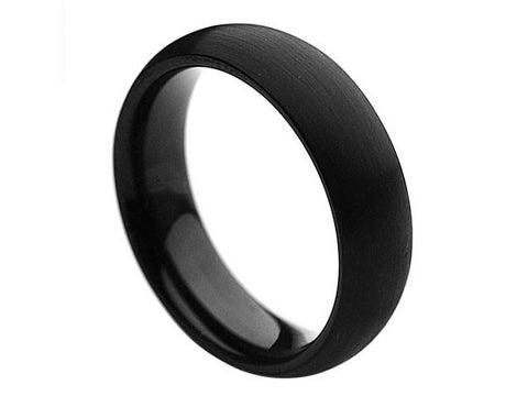 Brushed Slim Dome Tungsten Ring in Deep-Black