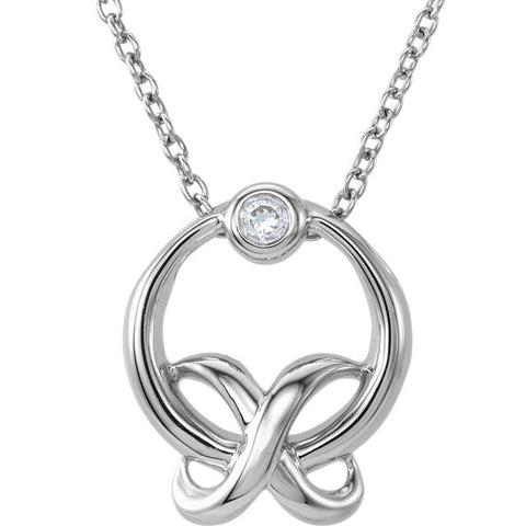Diamond XO Necklace in Silver