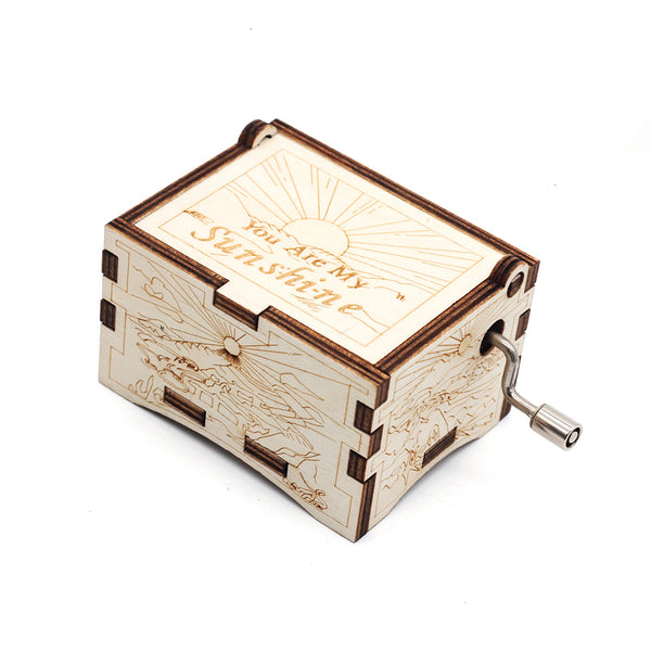 Hot You Are My Sunshine Antique Carved Wooden Hand Crank Music Box Christmas Gift Christmas Decorations For Home