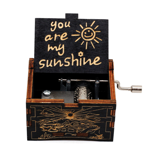 Antique Carved Hand Crank Wooden Caja De Musica You Are MY Sunshine Music Christmas Gift New Year Birthday Gift